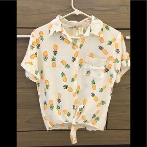 Japna Pineapple Button Down Shirt!